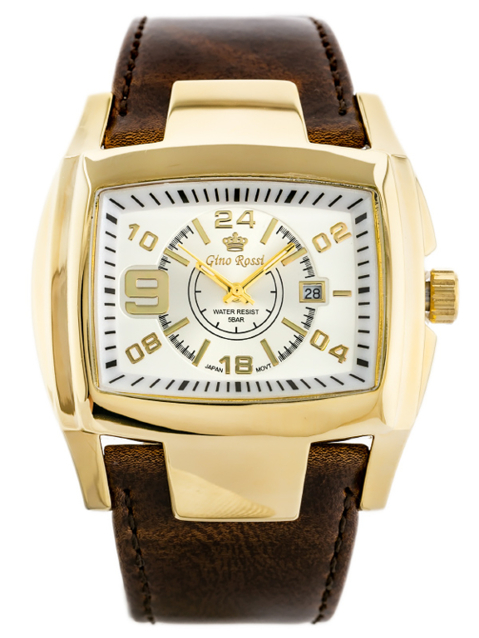 ZEGAREK MĘSKI GINO ROSSI - ROCKY (zg057h) white/gold/brown + BOX